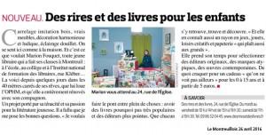 """Article paru dans """"Le Montreuillois"""" Avril 2016"""