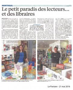 """Article paru dans """"Le Parisien"""" Mai 2016"""