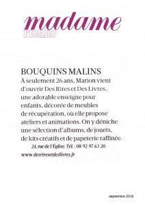 "Article paru dans ""Madame Figaro"" septembre 2016"