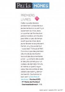 """Article paru dans """"Paris Mômes"""" (supplément Libération) septembre 2016"""